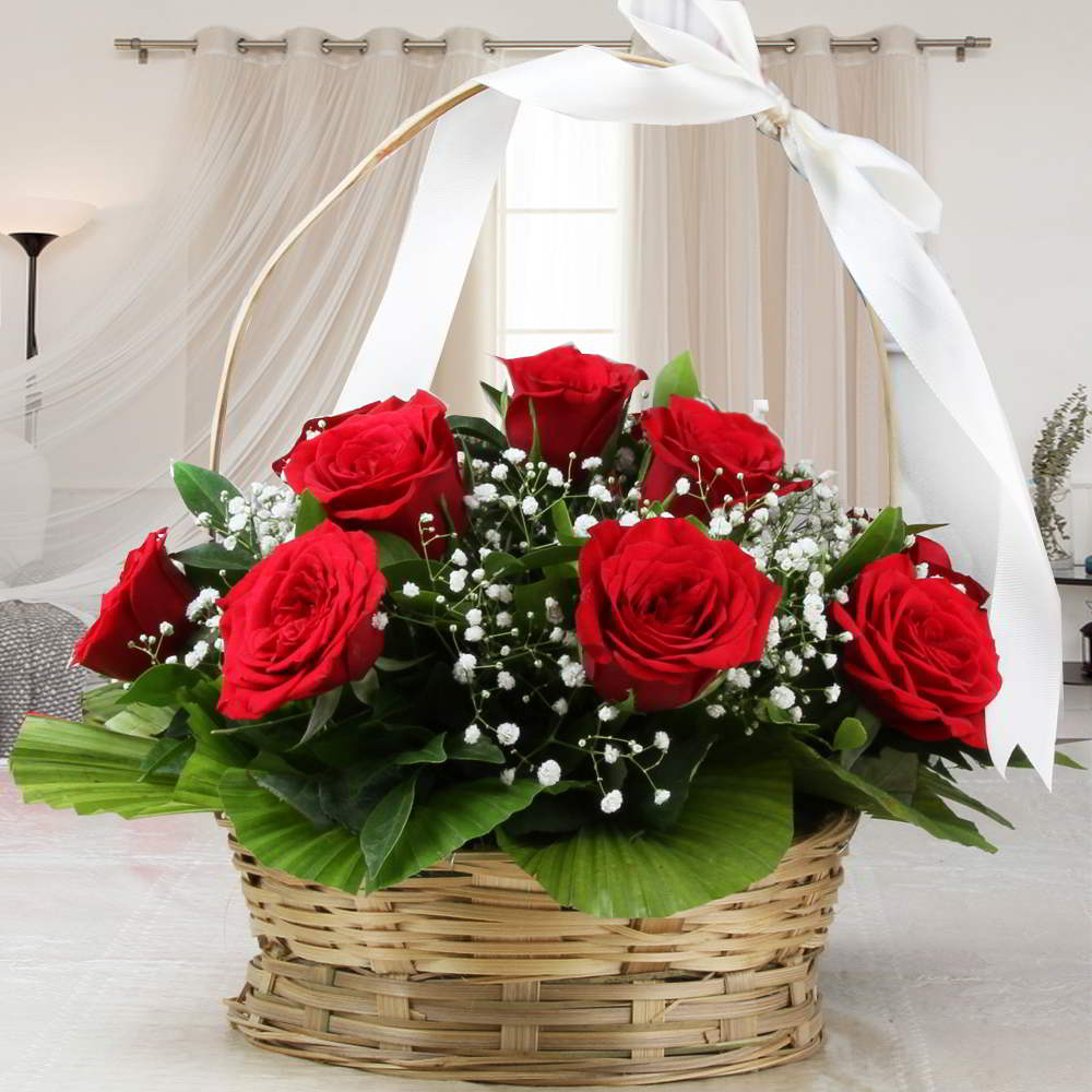 Adorable Basket Arrangement of Red Roses For Valentine