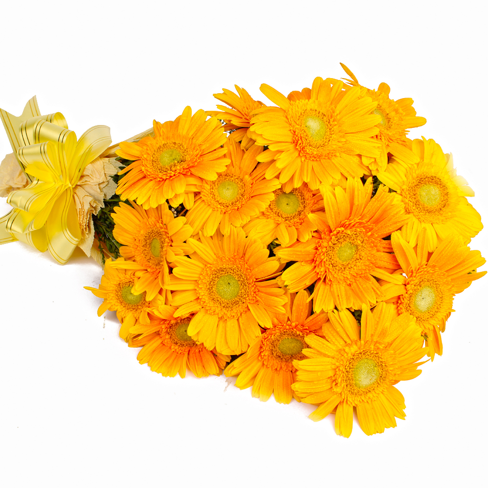 Bouquet of 15 Yellow Gerberas with Tissue Packing