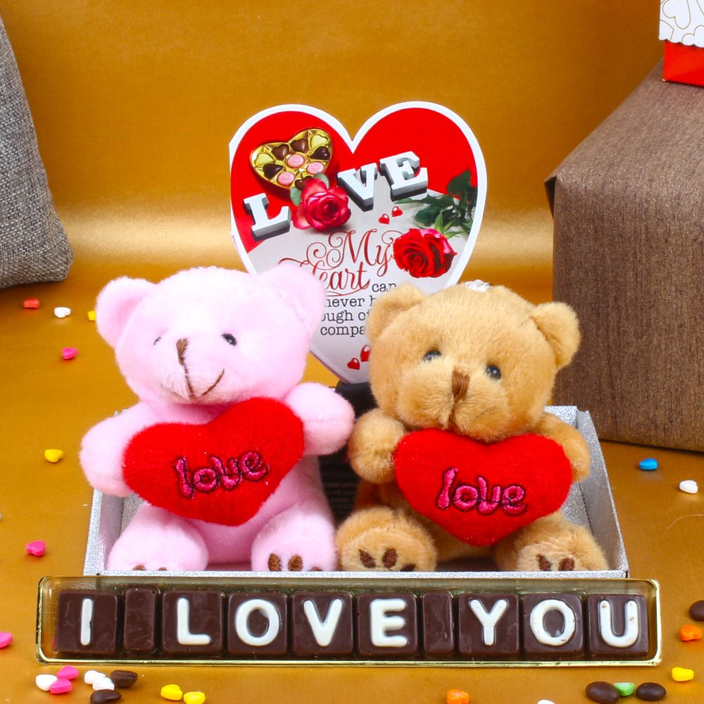 Couple Teddies Holding Heart with Home Made Chocolates and Love Card