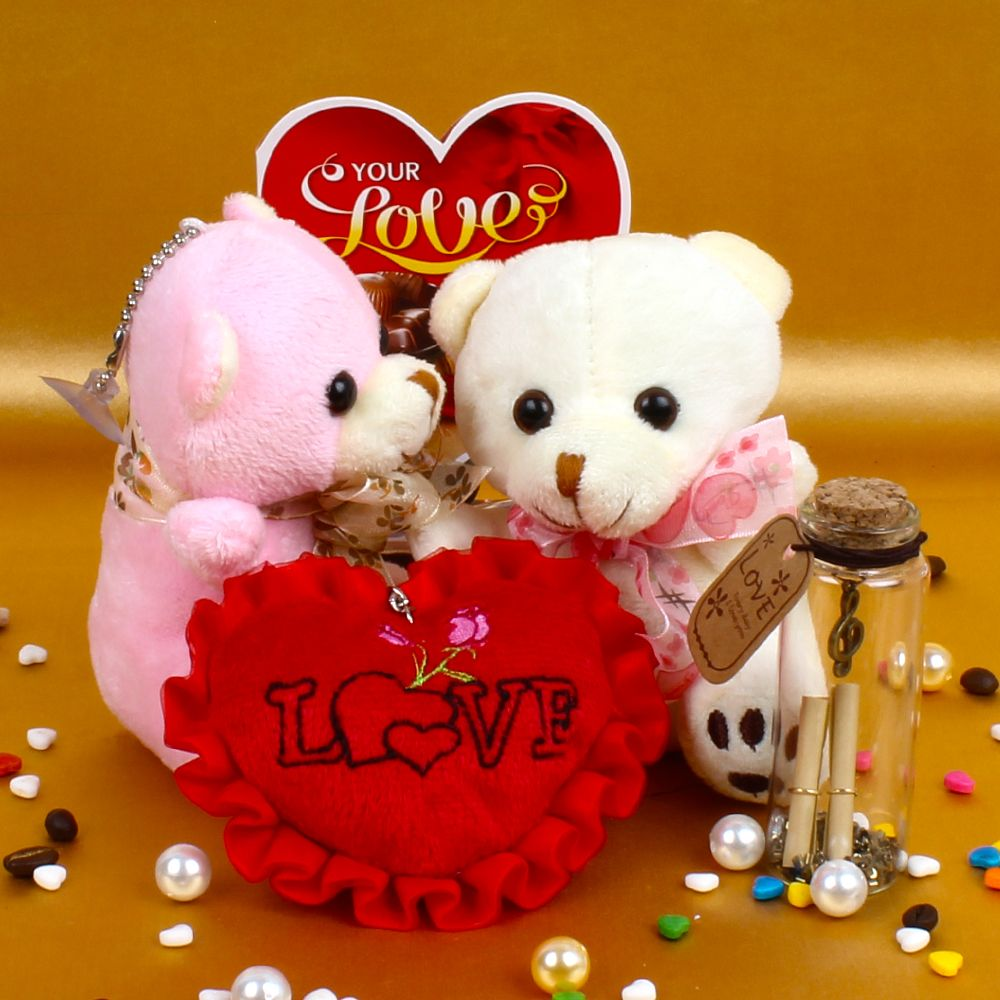 Couple Teddy Holding Heart with Love Card and Customize Message Scroll Bottle