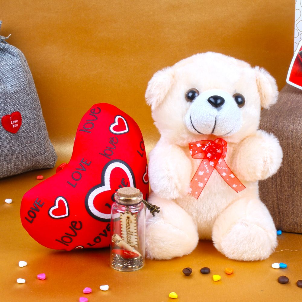 Customize Message Scroll Bottle with Teddy and Love Heart For Valentine Day