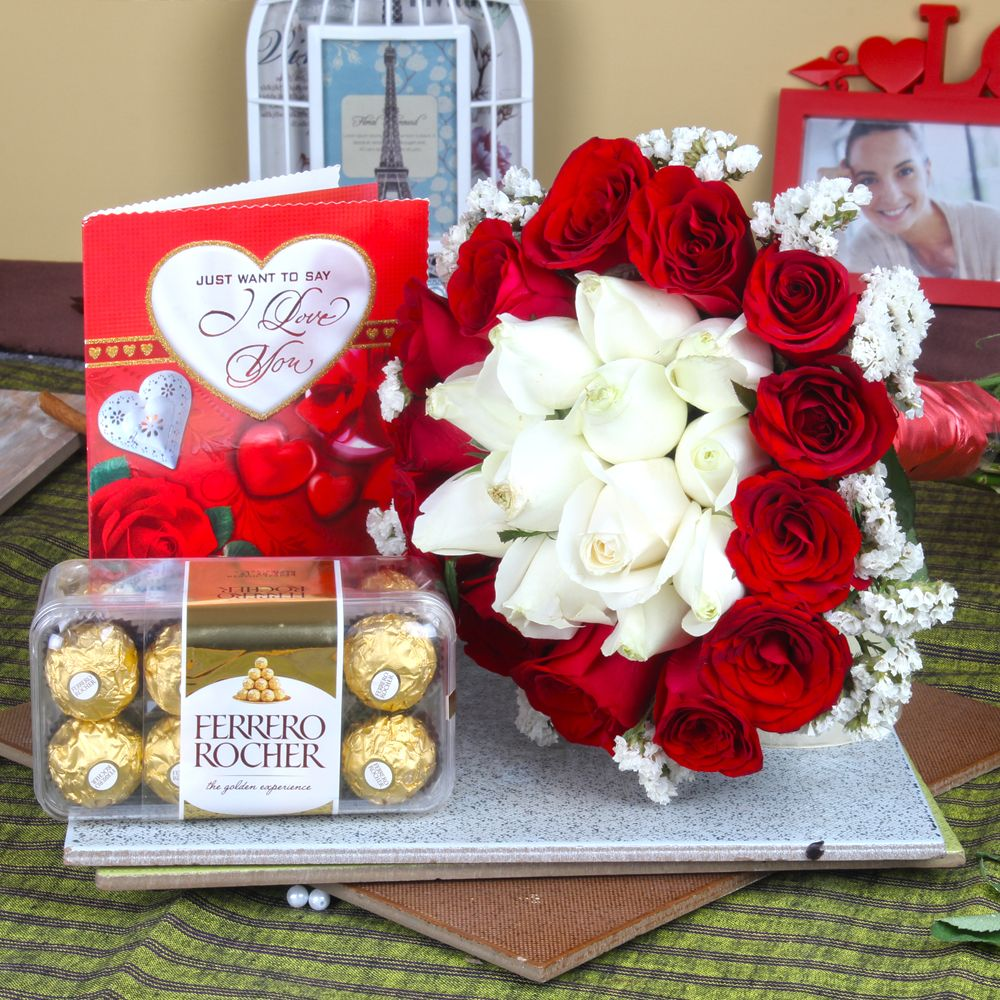 Ferrero Rocher Chocolate with Love Greeting Card and Roses Bouquet