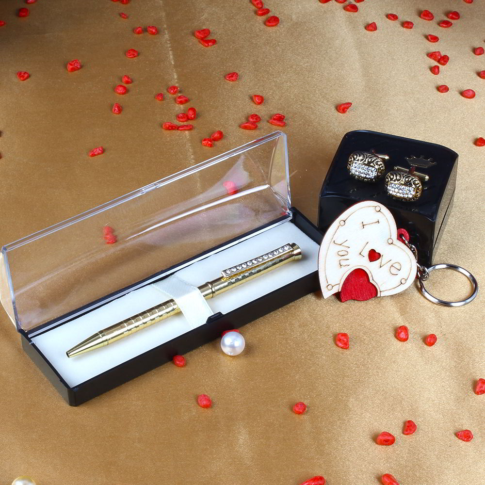 Golden Oval Diamond Cut Cufflinks with Golden Roller Pen and I Love You Key Chain