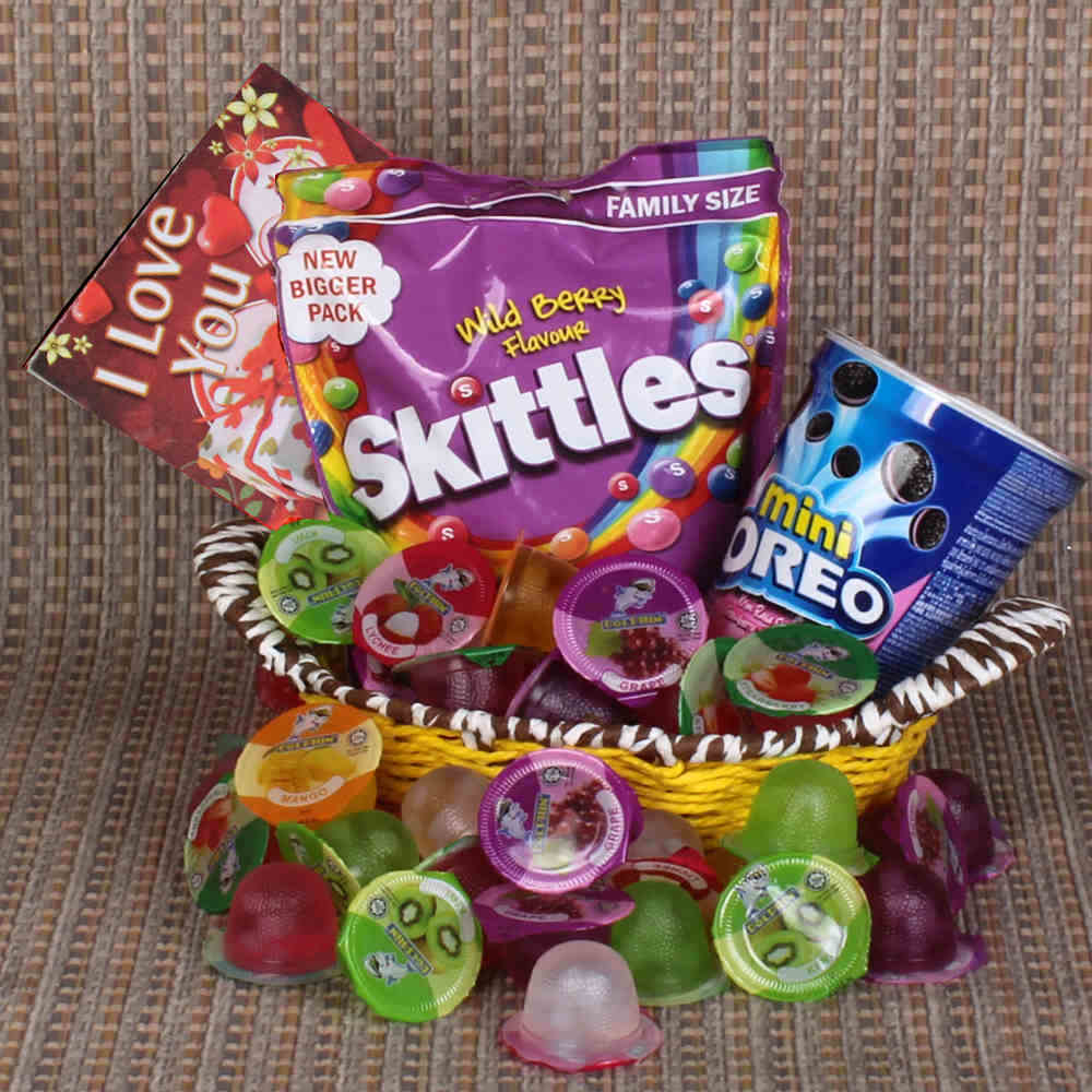 Love Gift Basket of Skittles and Mini Oreo with Fruit Jelly