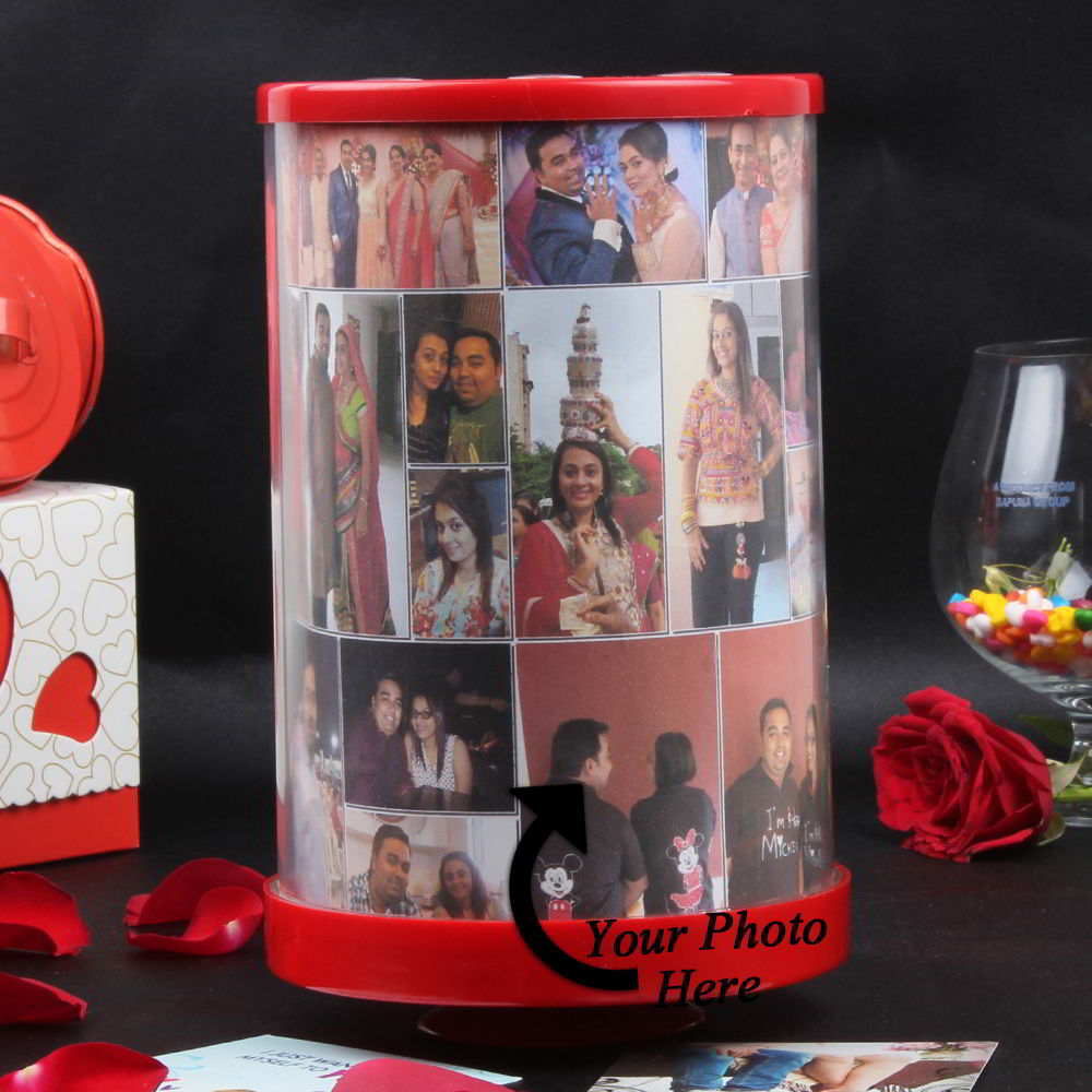 Personalized Panoramic Rotation Photo Frame with light