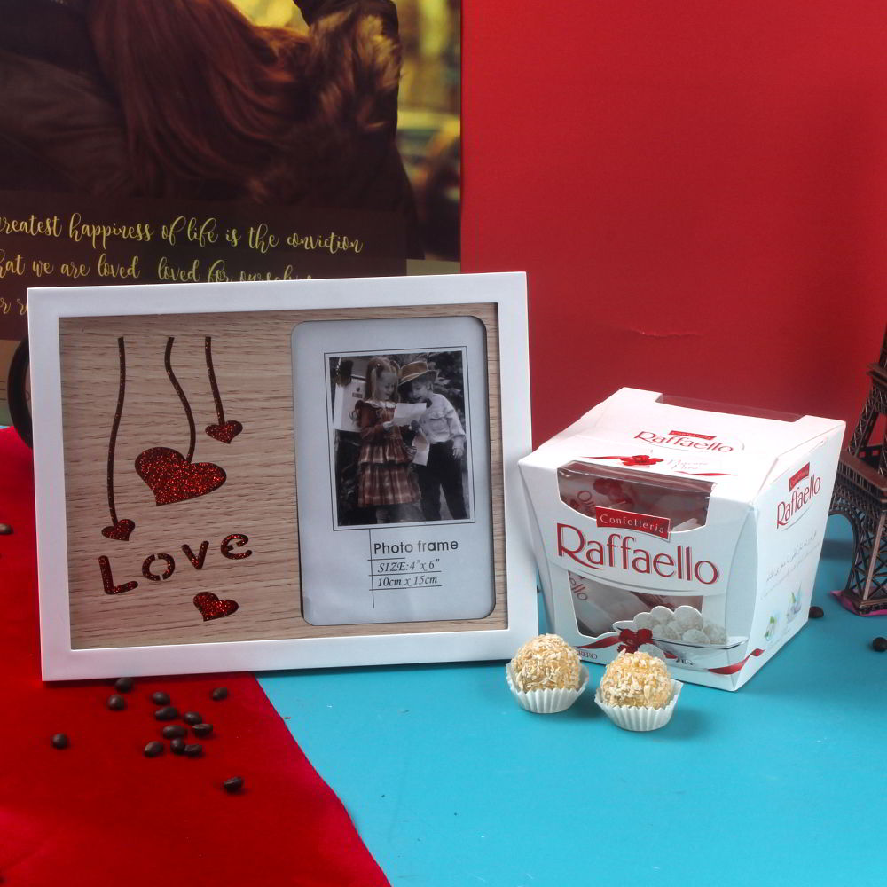 Raffaello Chocolate and Sparkling Love with Hearts Photo Frame Combo