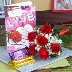 6 Red Roses Bouquet with Assorted Chocolate and Love Card