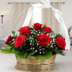 Adorable Basket Arrangement of Red Roses For Valentine for Mahe