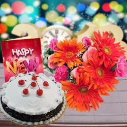 Black Forest Cake with 12 Mix Flowers and New Year Card