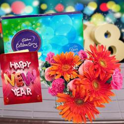 Cadbury Celebration Chocolates with Mix Flowers Bouquet and New Year Card