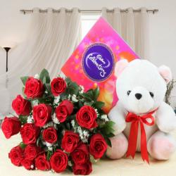 Celebration Chocolate Pack and Red Roses with Teddy For Valentine