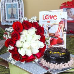 Chocolate Cake with Attractive Roses Bouquet and Love Card
