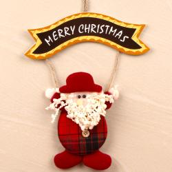 Cute Bunny Hold Merry Christmas Banner