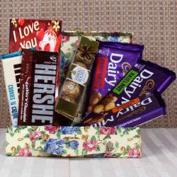 Dairy Milk and Hersheys and rocher hamper for Valentines Day