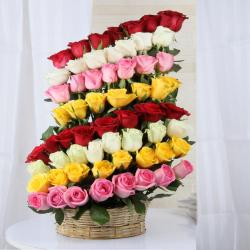 Decorated Layer Mix Roses Arrangement For Valentine Gift