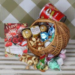 Dryfruit and chocolate basket hamper for Valentines Day for Malda
