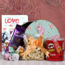Dryfruit and chocolate hamper for Valentines Day