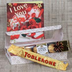 Ferrero Rocher and Toblerone with Love Greeting Card for Haldwani