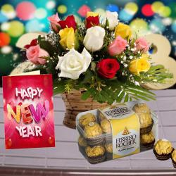 Ferrero Rocher Chocolate with Roses Arrangement and New year Card
