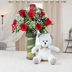 Glass Vase of Red Roses with Teddy Bear For Valentine Gift