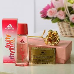 Gold Plated Rose with Certificate and Adidas Fruity Perfume