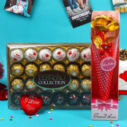 Golden Rose and Rocher Choco Hamper