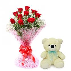 Valentine Flowers With Soft Toys To Baroda