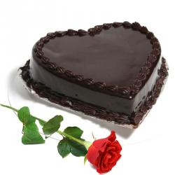 Heart Shape Chocolate Truffle Cake with Single Red Rose