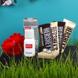 Hersheys Chocolate with Cufflink Diesel Perfume and Love Small Heart for Calicut
