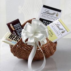 Lindt Chocolates in Cane Basket