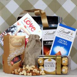 Lindt Rocher and Dryfruit hamper for Valentines Day for Ongole