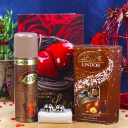 Lomani Deo with Lindor and Love Card Including Golden Frame Black Line Cufflink for Faridabad
