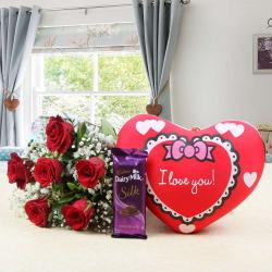 Love Gift of Red Roses and Heart Small Cushion with Cadbury Dairy Milk Silk