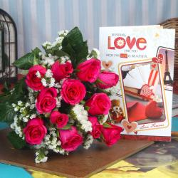 Love Greeting Card and Pink Roses Bouquet
