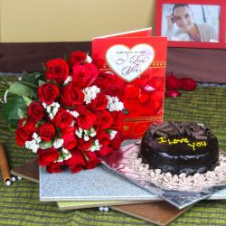 Love Greeting Card with Chocolate Cake and Red Roses Bouquet