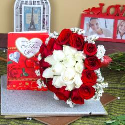 Love Greeting Card with Roses Bouquet Combo
