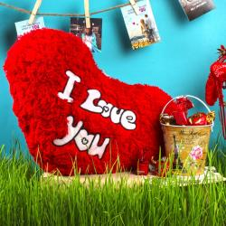 Love You Heart Shape Cushion with Imported Toffees Bucket