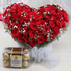 Lover Choice of Combo of Rocher Chocolate Box and Heart Shape Roses
