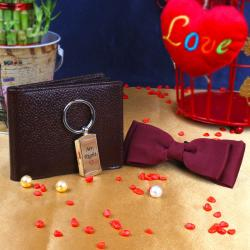 Marron Polyester Dual Bow with Mr.Right Key Chain and Brown Wallet for Ongole