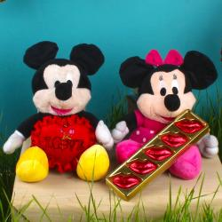 Mickey and Minnie Mouse Soft Toy and Red Love Heart with Lip Shaped Chocolate