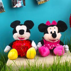Mickey and Minnie Mouse Soft Toy with Red Love Heart