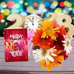 Mix Gerberas Bouquet and New Year Greeting Card