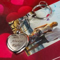 Mrs Always Right Heart Shaped Keychain