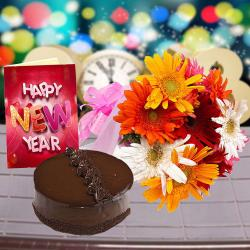 New Year Card with Truffle Chocolate Cake and Gerberas Bouquet