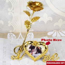 Personalized Photo on Love Stand with Golden Rose