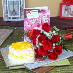 Pineapple Cake with Red Roses Bouquet and Love Greeting Card