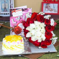 Pineapple Cake with Roses Bouquet and Love Greeting Card