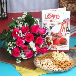 Pink Roses Bouquet with Assorted Dry fruits and Love Card