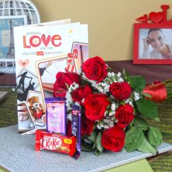 Red Roses Bouquet with Assorted Chocolate and Love Greeting Card