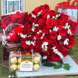 Red Roses Bouquet with Ferrero Rocher Chocolate and Love Card